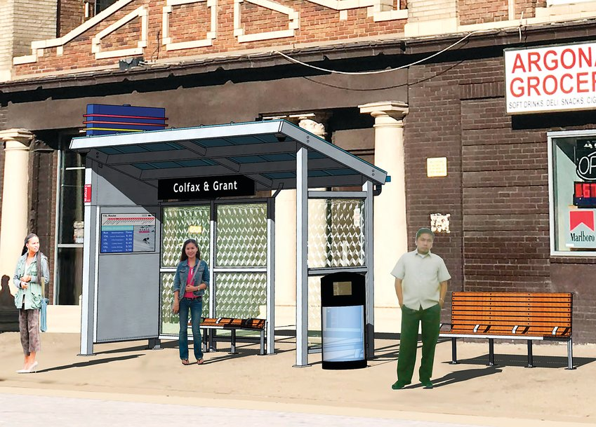 New bus shelters will be coming to Colfax Avenue in 2020. This rendering shows what the new shelters will look like. Depending on how popular a particular stop is, RTD staff said the shelters would be larger or smaller to accomodate riders.