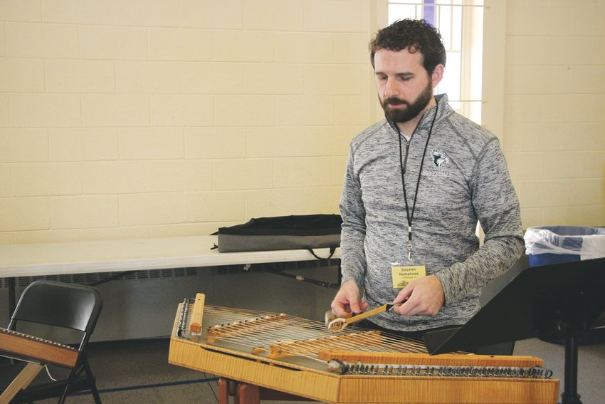 Hammered dulcimer teacher Stephen Humphries traveled from Chattanooga, Tennessee to participate in the Colorado Dulcimer Festival.