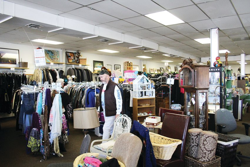 The inside of Treasure Trunk Community Thrift Store. Rebekah Hawthorne, the store's manager, said the store had a pair of vintage handmade spurs come in this month that resold for $500.