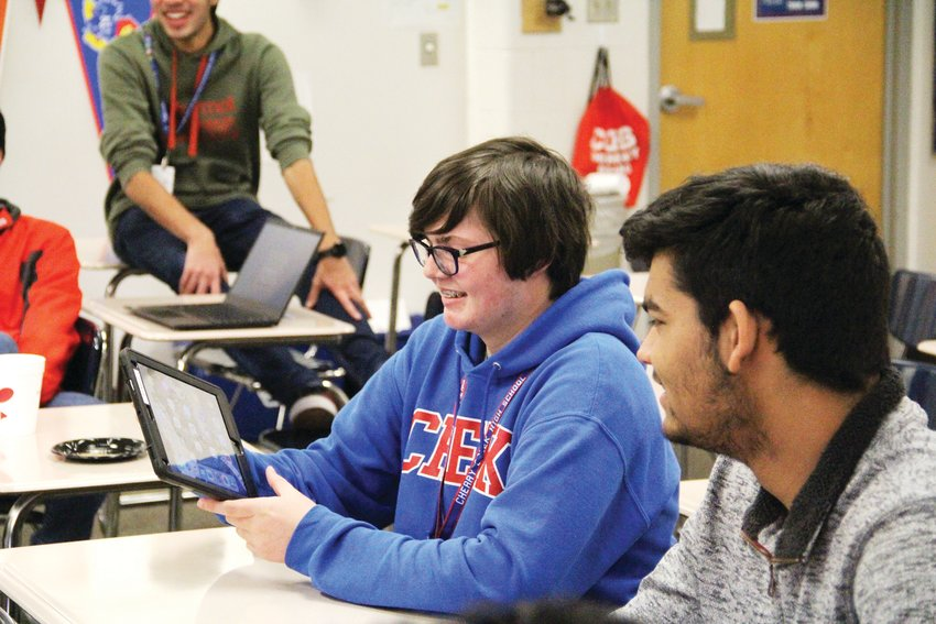 Jacob Gauthier, a Creek sophomore, talks about a tech problem he had to solve during an exercise Feb. 6 at a Generation Tech meeting.