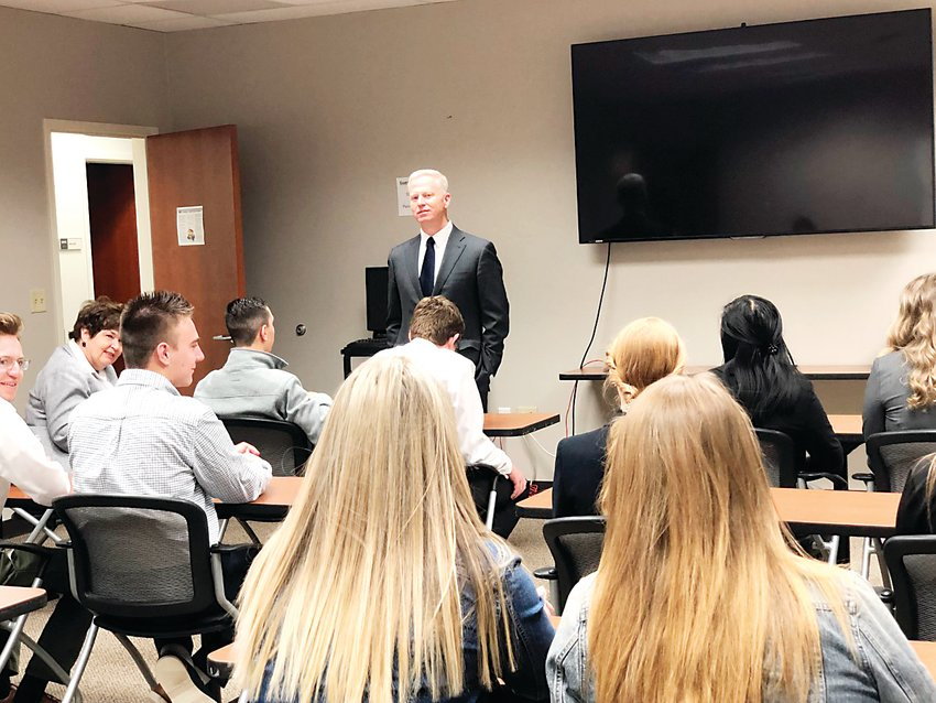 District Attorney George Brauchler speaks to students from Elizabeth High School about the judicial process.