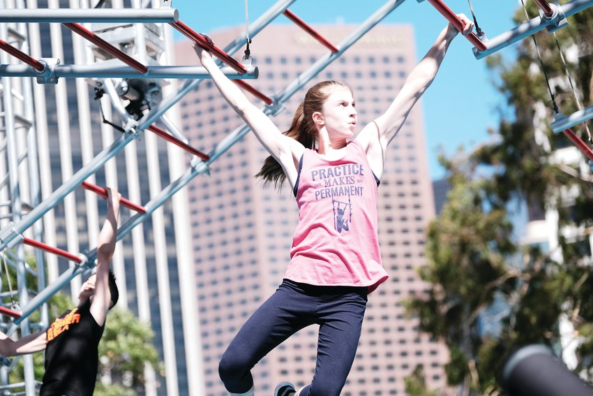Drake Middle School student Emily Keener competes on the course of America Ninja Warrior Junior in Los Angeles.