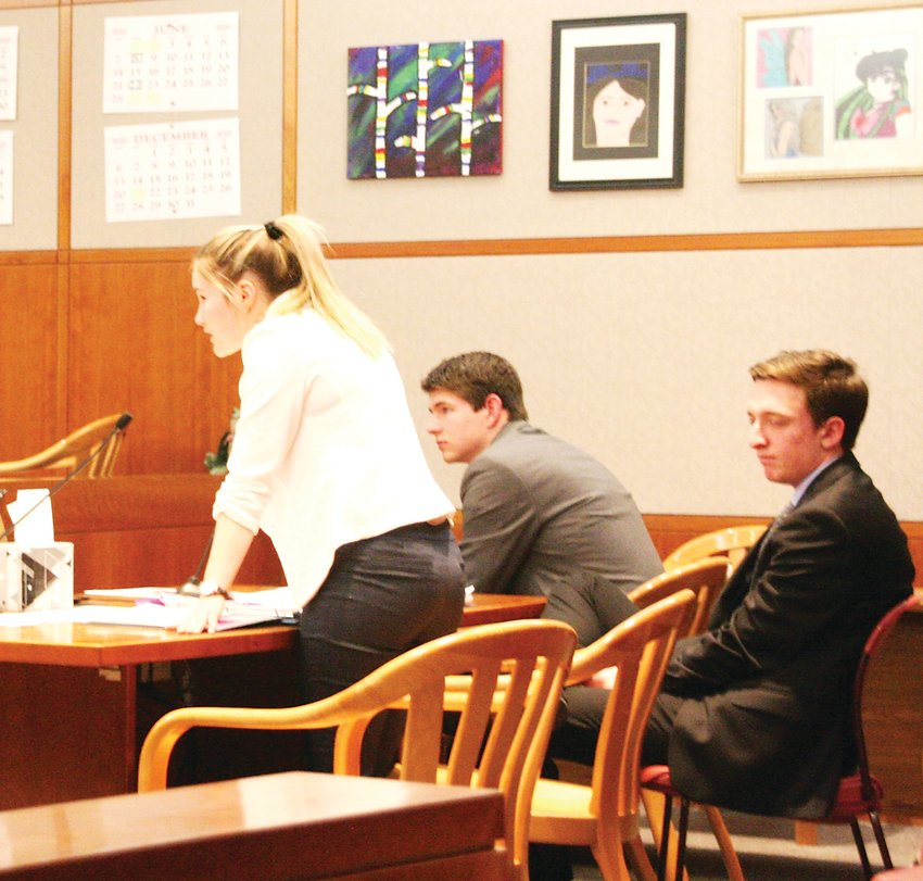 Dakota Ridge High School student Stella Wieber makes an objection during the Jefferson County Mock Trial tournament.