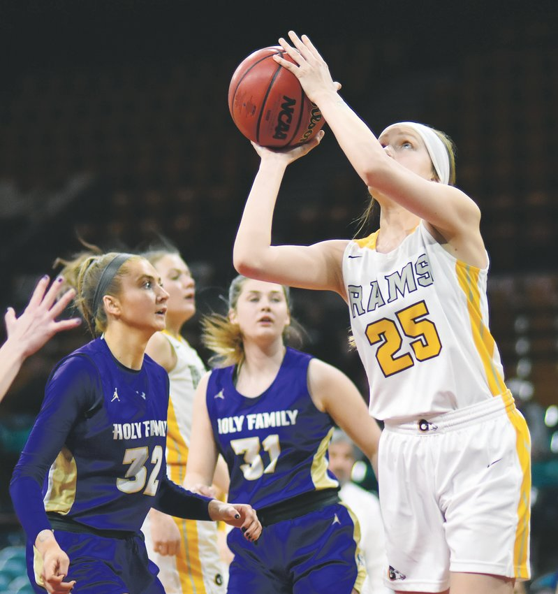 Green Mountain senior Maddie Phillips (25) goes up for a shot during the Class 4A girls basketball state semifinal game March 12 at the Denver Coliseum.
