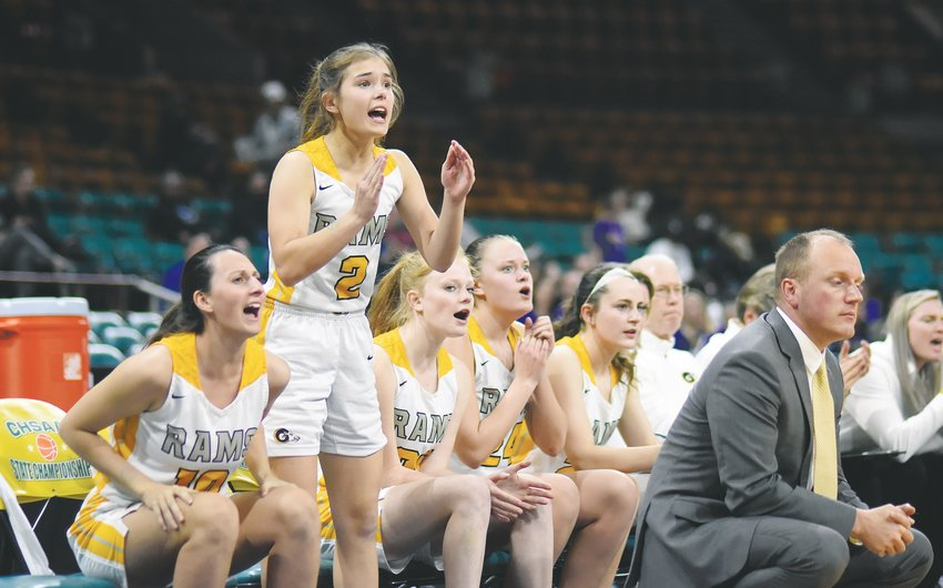 Green Mountain sophomore Olivia Sears (2) leads the cheers from the Rams' bench during the Class 4A girls basketball state semifinal game Thursday, March 12, at the Denver Coliseum. A 38-31 loss to Holy Family ended a historic 24-3 record for the Rams this season.
