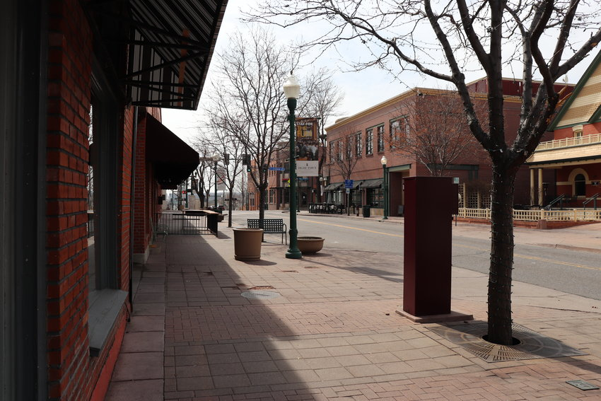 The scene on St. Patrick's Day in Olde Town Arvada, following a statewide ban of large public gatherings and the shutting of dine-in services.