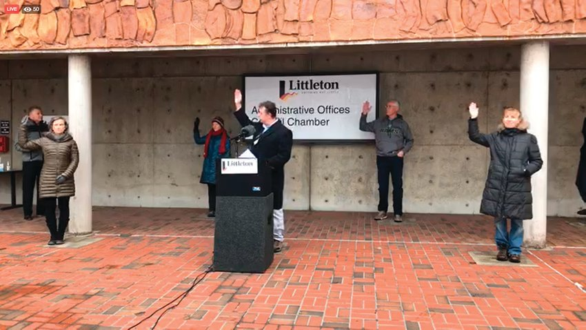 In a screenshot from a city recording, five of Littleton's seven city councilmembers unanimously approve a an emergency declaration on March 20, seeking to coordinate local response to the coronavirus crisis. From left: Karina Elrod, Kelly Milliman, Mayor Jerry Valdes, Pat Driscoll and Carol Fey. Councilmembers Scott Melin and Pam Grove were self-isolating at home after being exposed to people who tested positive for coronavirus at a conference.