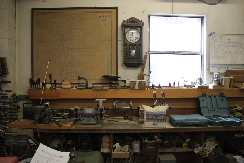 Rick Morel's workbench. Morel, a third-generation pipe organ builder, uses specialty tools that date back decades.