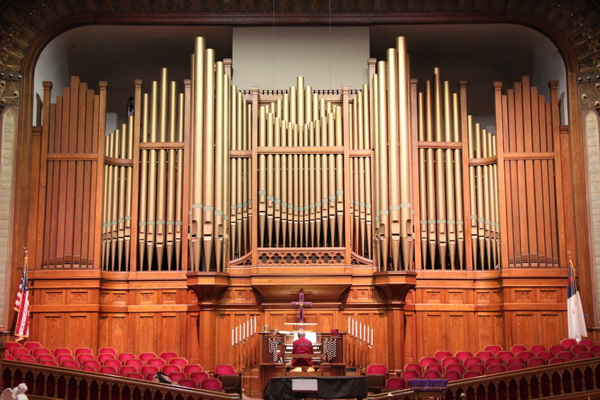 "The colossal 1888 Roosevelt pipe organ at Denver's Trinity United Methodist Church is ""one of the monuments of organ building in the West,"" said organist Norm Sutphin."