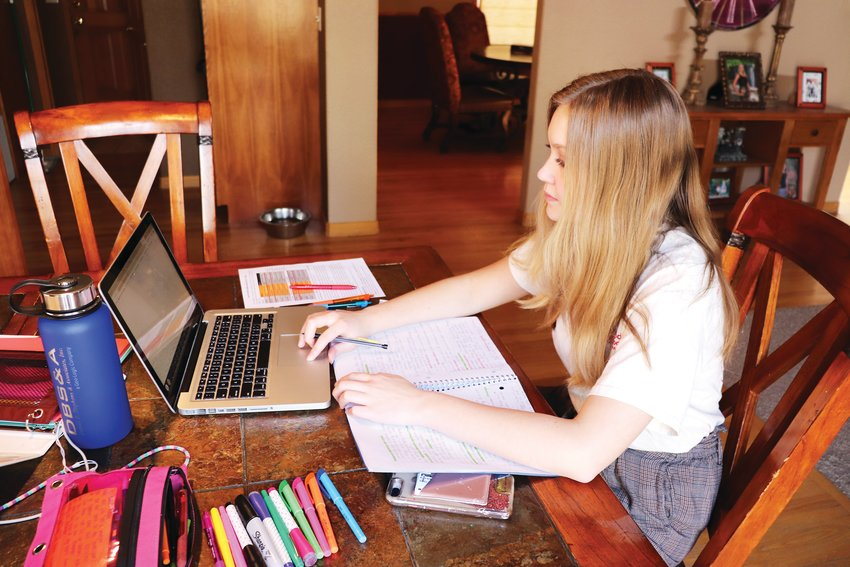 "Lakewood High sophomore Morgan Fritzler completes classwork from her Arvada home. ""It's an adjustment to the way I've been learning for so long,"" she said."