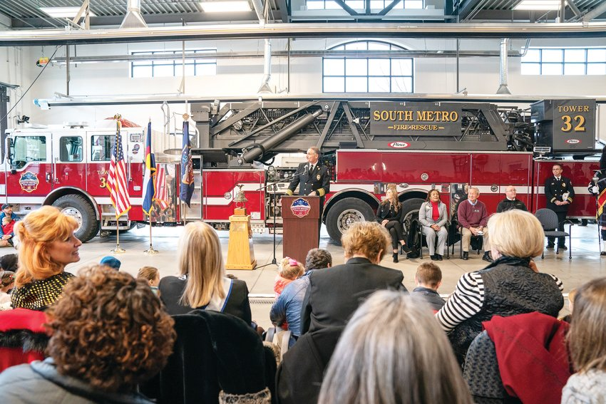 South Metro Fire officials celebrate the opening of a new fire station on March 2.