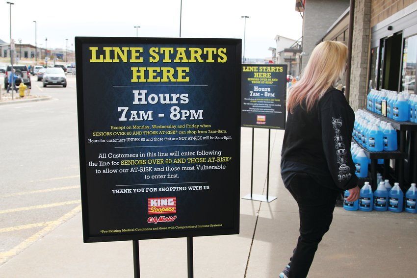 Around 11 a.m. on March 30, shoppers came and went freely from the King Soopers near the Promenade at Castle Rock. But lines form early at open, some residents say, as customers wait to take advantage of special hours reserved for seniors.