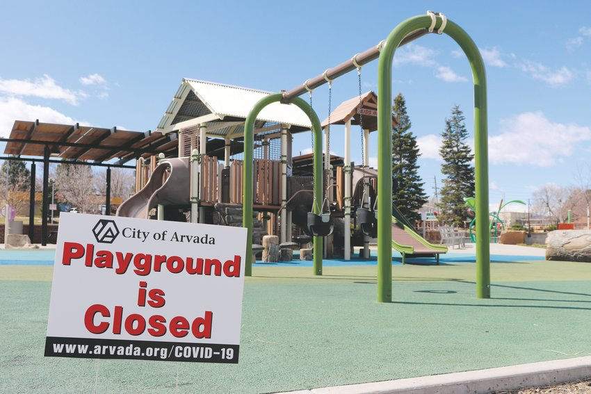 The City posted closure signs at specific facilities, such as pavilions and playgrounds like this one, the Ralston-Central Park playground, to limit community spread of the virus.