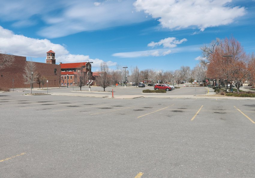 Olde Town's Webster Lot was almost entirely empty the last days in March as the COVID-19 outbreak kept many inside their homes.