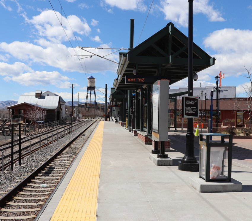 The scene at the G Line's Olde Town Arvada station around noon on March 31.