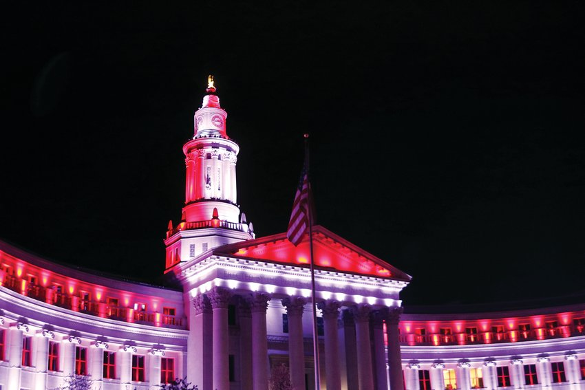 Denver's City and County Building, 1437 Bannock St., will be lit up through April 30 as an expression of gratitude to first responders and essential workers serving the community on the frontlines of the pandemic.