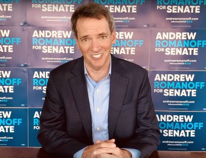 Andrew Romanoff, candidate for U.S. Senate in Colorado, speaks to Democratic assembly delegates via video on Saturday, April 18, 2020.