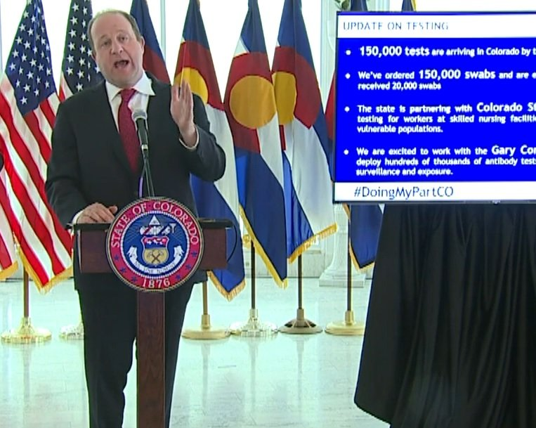 Colorado Gov. Jared Polis discusses COVID-19 at his news conference Wednesday, April 22, 2020.