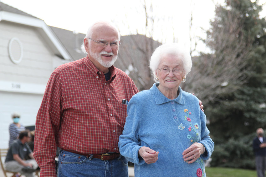 When Evelyn Berkey's husband served overseas in WWII, she cared for their only son, Bill, alone. Bill now cares for his mother, who lives with him in Castle Rock. He stayed by her side constantly during her 100th birthday celebration on April 21.