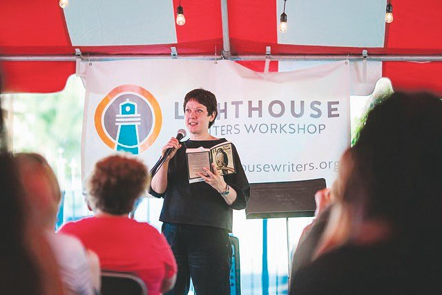 Helen McDonald gives a reading at a past Lit Fest. This year, Lighthouse Writers Workshop's 15th annual Lit Fest will take place virtually throughout the month of June.