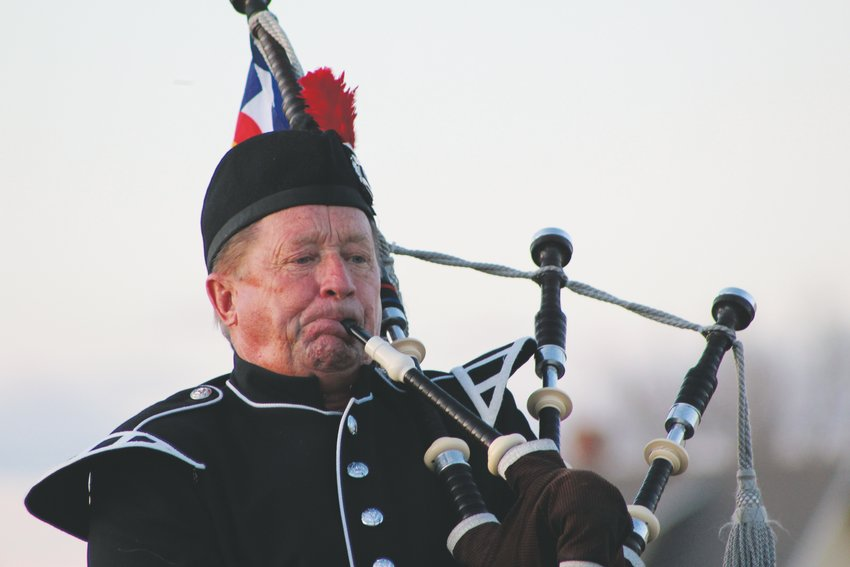 Dave Carrigan, of South Metro Fire Rescue, plays his Great Highland Bagpipe every evening as the sun sets in solidarity with pipers around the globe in a movement to spread hope.