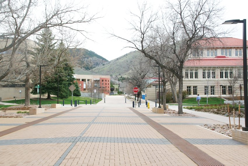 An empty walkway on the Colorado School of Mines campus.