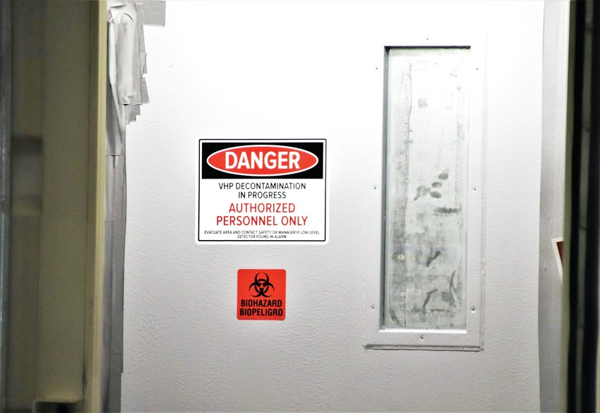A window on the door to the N95 decontamination chamber is clouded with hydrogen peroxide vapor May 14 at the Adams County Fairgrounds Exhibit Hall.