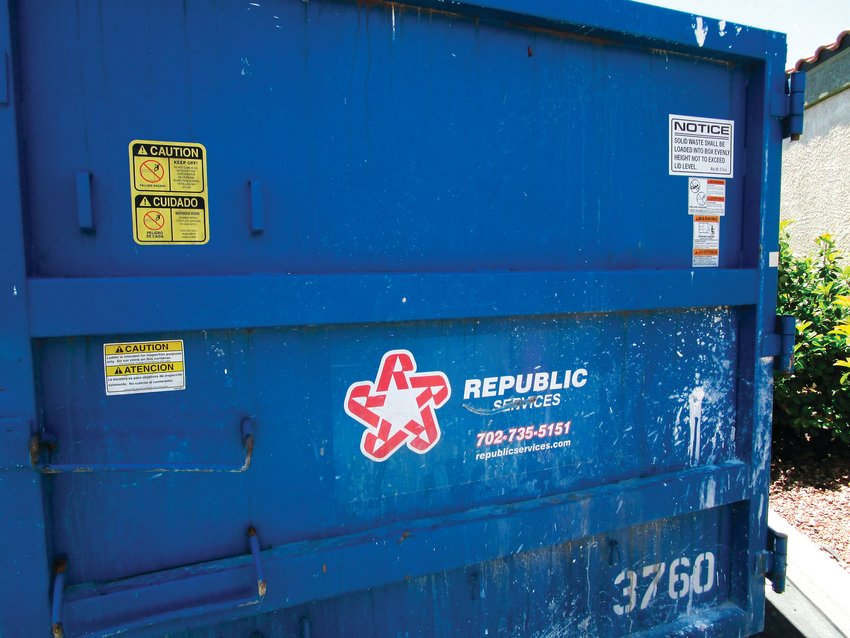 A Republic trash dumpster. Republic is the leading contender for a potential citywide trash hauling service deal with the city of Arvada.