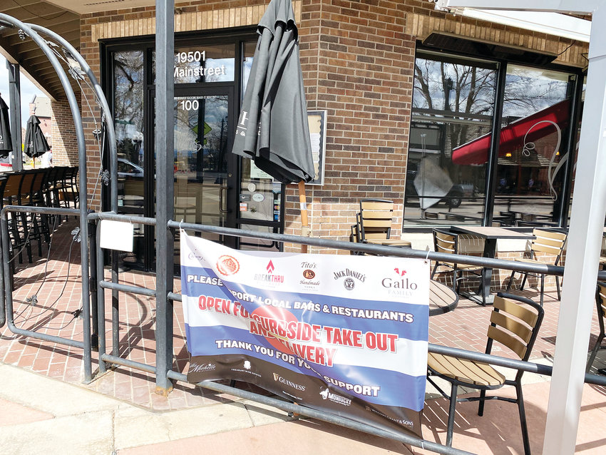 The outside seating area at Vines Wine Bar and Bistro in Parker as it appeared in April.