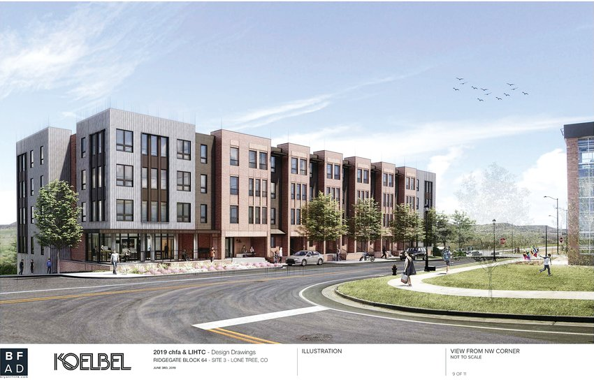 A rendering of the 67-unit affordable housing complex planned for RidgeGate Station.