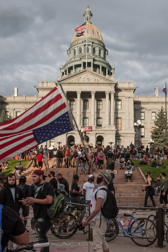 Protests at the Colorado state Capitol in Denver on Sunday, May 31, 2020.