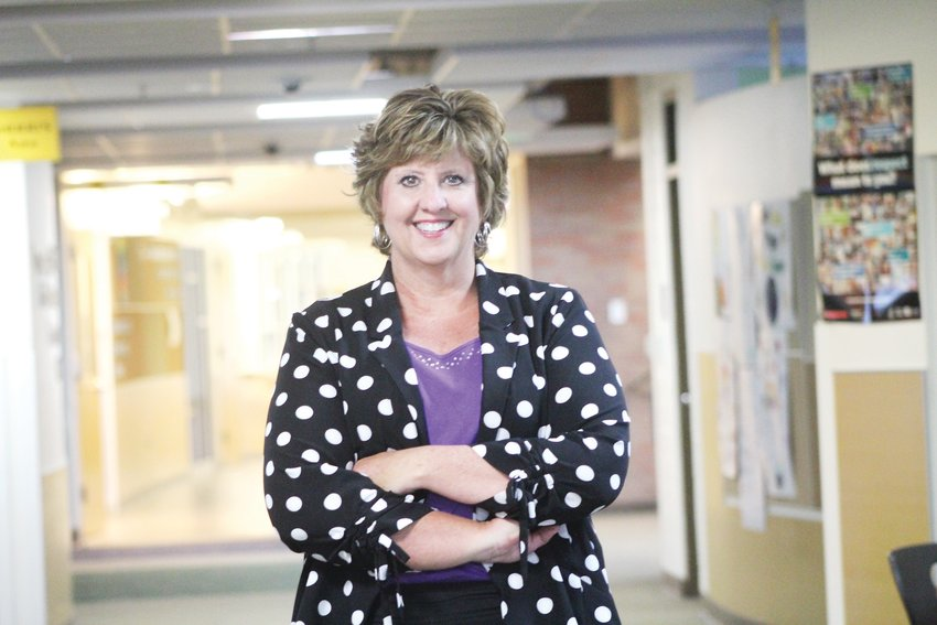 Colorado's Finest High School of Choice Principal Bobbie Skaggs stands inside the school on May 29. After working at the school for 25 years, Skaggs is retiring.