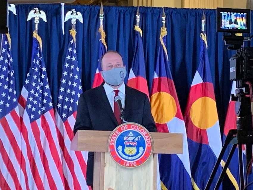 Colorado Gov. Jared Polis in a May 15, 2020, appearance.