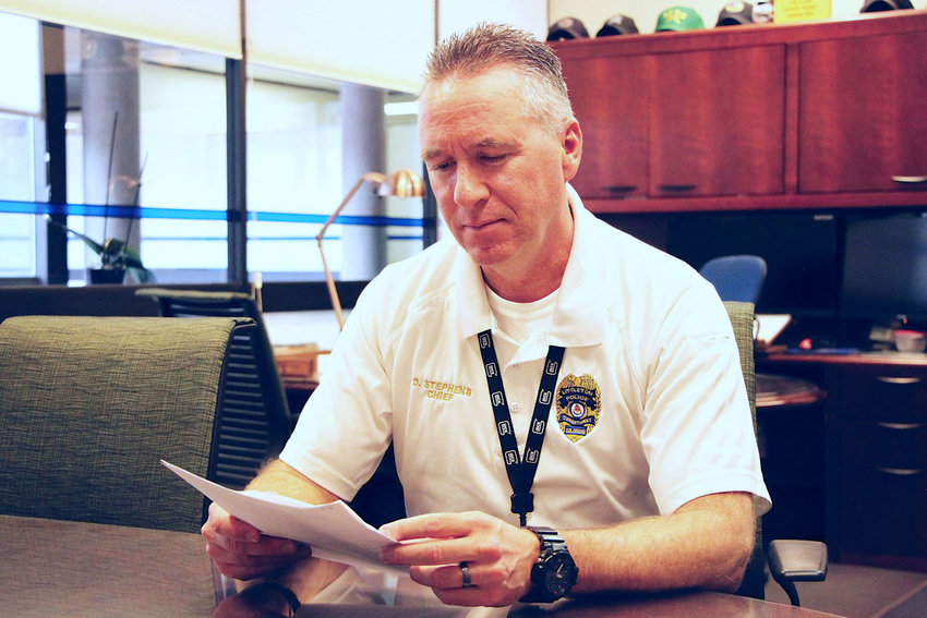 Littleton Police Chief Doug Stephens in his office in January. Stephens said there is no evidence to support rumors of protesters coming to Littleton.