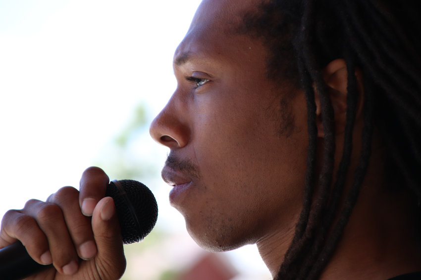 Quincy Shannon speaks June 7 in Castle Rock at a protest held in solidary with Black Lives Matter.