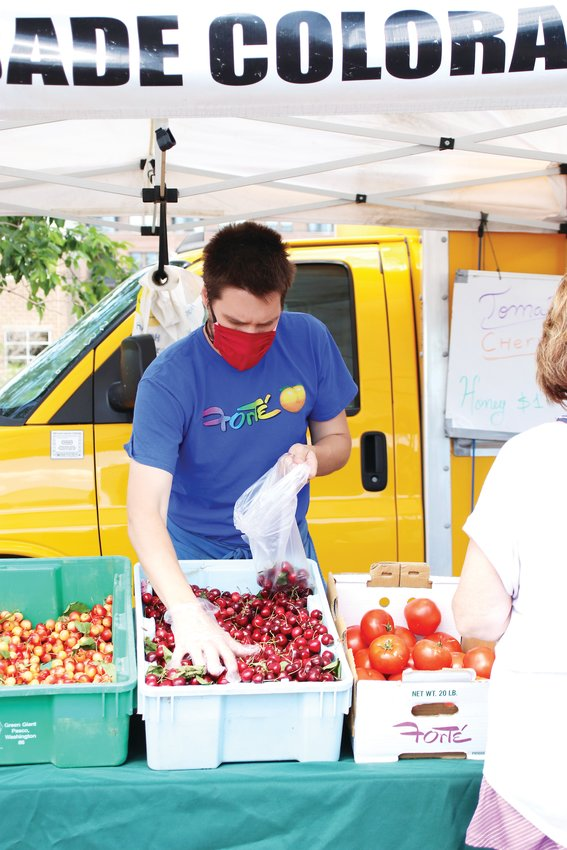 Lazar Cvijovic bags cherries for a customer on June 14.