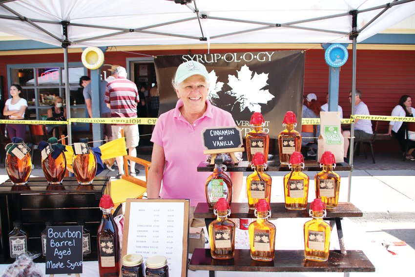 Mary Jo Farr said business hasn't dipped so far selling her craft syrups at the Parker Farmers Market. Farr, of Colorado Springs, sells her syrups at four major farmers markets on a rotation, the Parker Farmers Market being one of them. For those who are extra curious to try a sample, she provides to-go samples in a plastic cup. Not having Mother's Day hurt, Farr said, but the spring is usually slow anyway and she's happy to be out selling again.