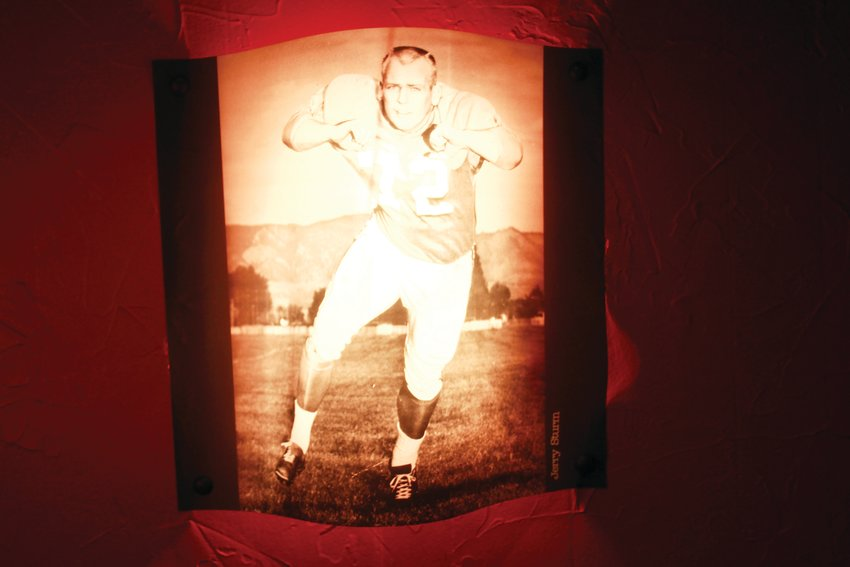 A photo of Jerry Sturm that hangs inside The South Restaurant. Sturm, co-owner of the restaurant, played for the Denver Broncos from 1961 to 1966 and was named to the team's all-time Top 100 Team last year. He previously owned the End Zone bar on West Colfax before getting into the food business in 1970.