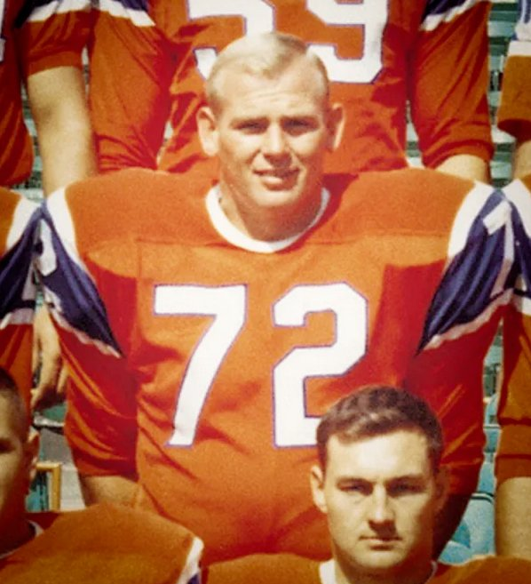 Jerry Sturm during his playing days with the Denver Broncos in a team photo.