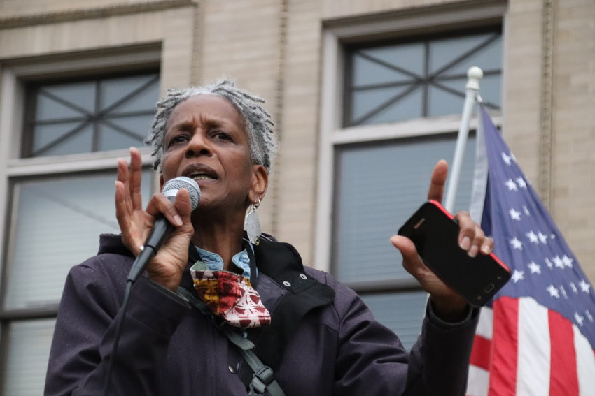 Poet and activist Norma Johnson speaks at the Littleton Municipal Courthouse as part of the Black Lives Matter Solidarity Walk on June 18.