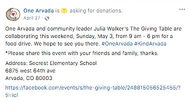 "The first post on One Arvada's Facebook page where director Joshua Rodriguez mentions ""community leader Julia Walker's The Giving Table."""