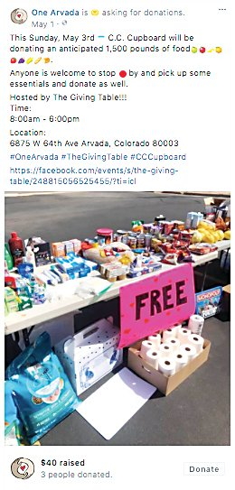 A post on One Arvada's Facebook page collecting donations and referring to a food drive event with Walker's table. Walker never received monetary or item donations from Rodriguez, she said.