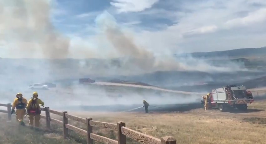 A frame from a South Metro Fire Rescue video posted to Twitter showing crews battling the Chatridge 2 fire in Douglas County near Highlands Ranch on June 29, 2020.