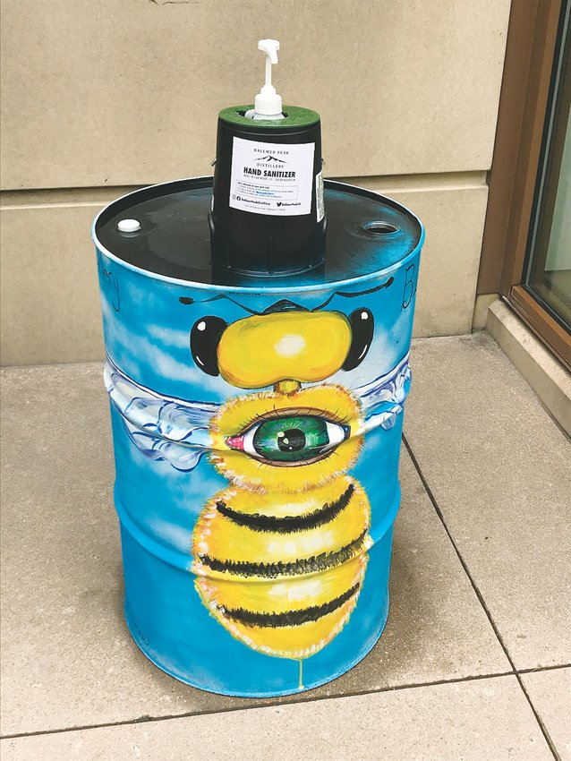 Hand sanitizer stations with local art can be found throughout the Belmar area. The projects were carried out by 18 artists and feature a variety of designs.