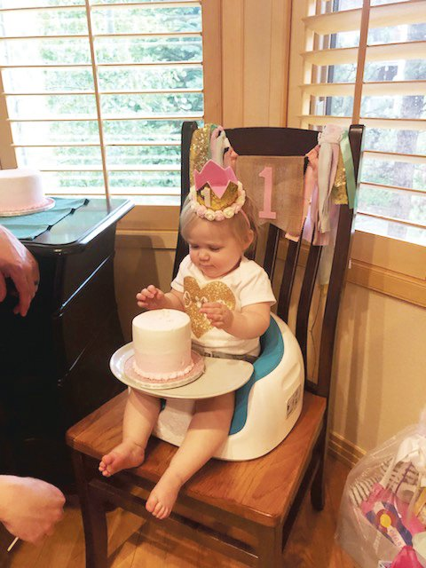 Eloise Burford, the first baby born at UCHealth Highlands Ranch, tried cake for the first time on her first birthday June 18.