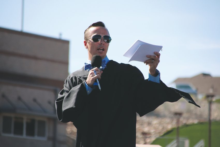 Teacher Colin Lynch of Castle View High School speaks to the graduating class of 2020 during their June 26 commencement ceremony at EchoPark Stadium in Parker.