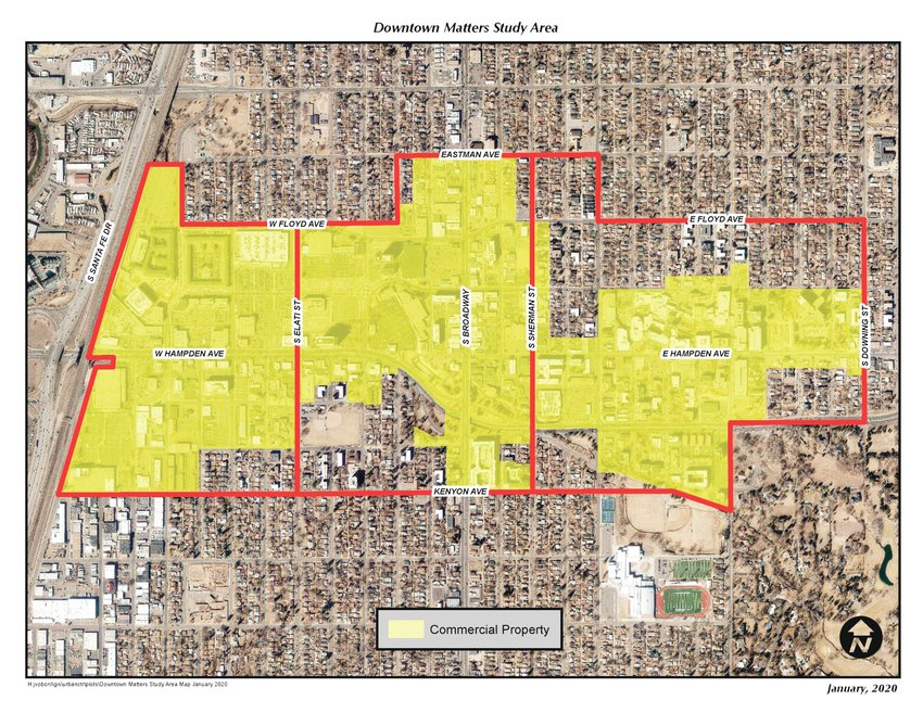 Map shows the area of downtown Englewood under study in the Downtown Matters process.