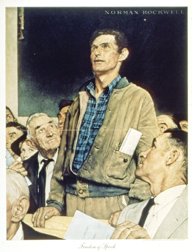 """Freedom of Speech"" is part of Norman Rockwell's ""Four Freedoms"" series."