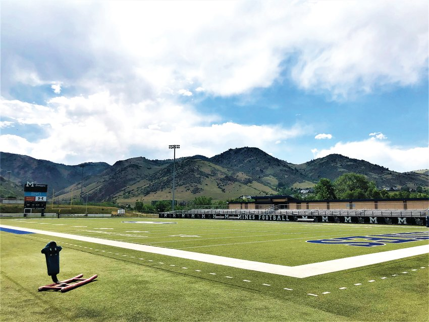 An empty field at Marv Kay stadium on the School of Mines campus.