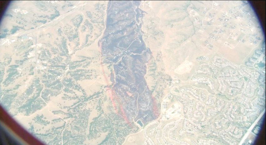 The scar from the June 29 Chatridge 2 fire is show in a photo taken from the Colorado Division of Fire Prevention and Control's Multi-Mission Aircraft.